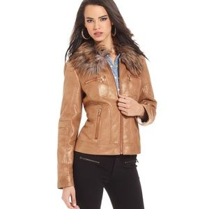 Guess Faux Fur Metallic Jacket